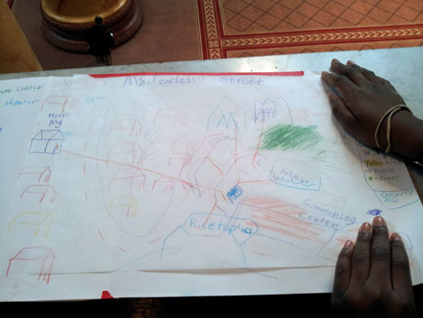 the overlay of this map shares her vision of her neighborhood done her way.