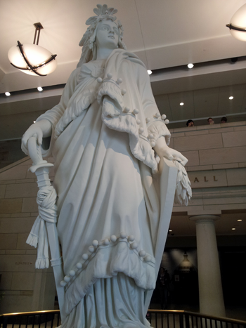 model of the Statue of Freedom which sits on the top of the Capitol. it gets hit by lightening a LOT.