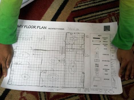 ...drew the floor plan of her home...