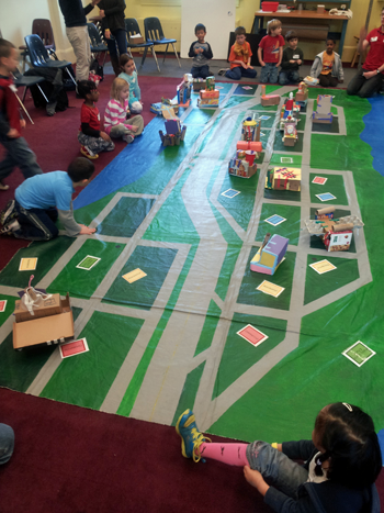 ...built a building for her zone and installed it in the city she created with her classmates.