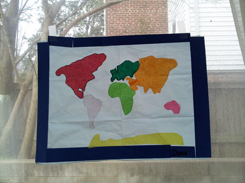 the little one crafted tissue paper suncatcher world maps