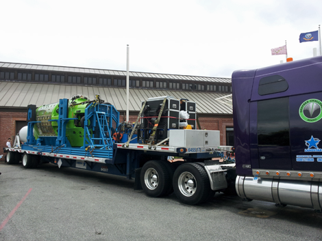 The DEEPSEA CHALLENGER on its way from CA to the Woods Hole Oceanographic Institution in MA.